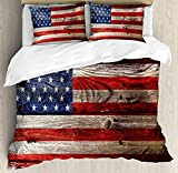 Rustic American USA Flag Bedding Duvet Cover Sets for Children/Adult/Kids/Teens Twin Size, Fourth of July Independence Day Weathered Retro Wood Wall Looking Country Emblem, Hotel Luxury Decor 4pcs Set