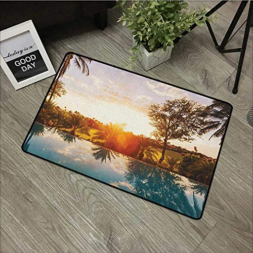 Buck Haggai Carpets Floor Door Mat Hawaiian,Home with Swimming Pool at Sunset Tropics Palms Private Villa Resort Scenic View, Orange Teal,for Indoor Outdoor Easy Clean Entry Way,30