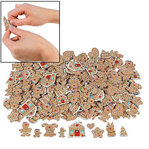 500 GINGERBREAD Foam CRAFT SHAPES/Self ADHESIVE Stickers/GINGER BOY/GIRL/HOUSE/CHRISTMAS ACTIVITY/HOLIDAY/WINTER ()