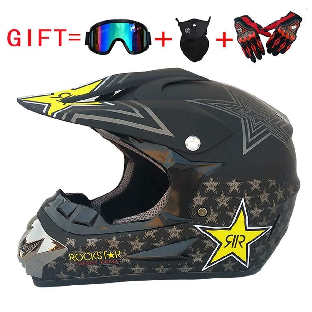 MJW Adult Motocross Helmet MX Motorcycle Helmet ATV Scooter ATV Helmet D.O.T Certified Rockstar Multicolor with Eyewear Gloves Mask (S, M, L, XL, XXL),L