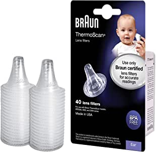 Braun ThermoScan Lens Filters for Ear Thermometer, LF40US01 (40 Count), Disposable Ear Thermometer Covers, Avoid Spreading Germs, For More Accurate Braun Ear Thermometer Readings