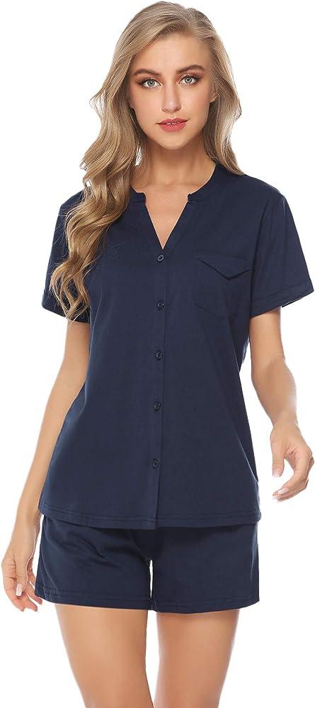 iClosam Pijama Mujer Verano Corto Algodon Set, Pijamas Botones Casual, Camiseta y Pantalones Suave y Comodo, Ropa para Dormir 2 Piezas S-XL: Amazon.es: Ropa y accesorios