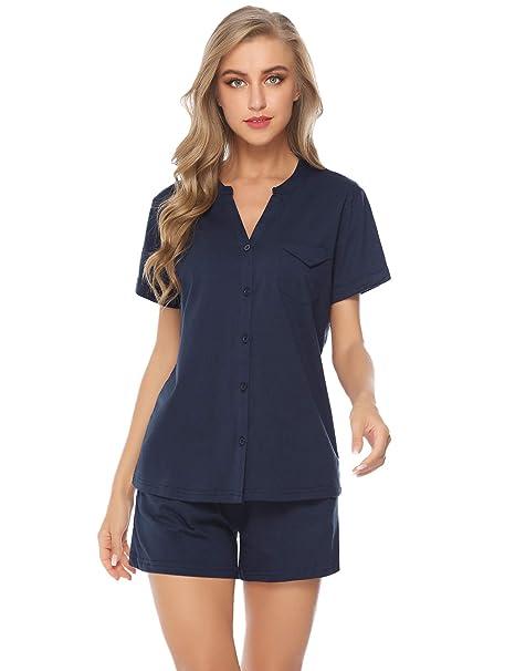 596bf9938 Hawiton Pijama Mujer Verano Corto de 100% Algodón Ropa de Domir Manga Corta  y Pantalón Corto 2 Piezas