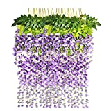 Marcherry Artificial Flowers 12 Pack 3.6 Feet Rattan Strip Artificial Fake Wisteria Vine for Home Kids Room Garden Hotel Office Wedding Decor Wall Crafts Art Party Decoration (Purple)