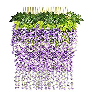 Marcherry Artificial Flowers 12 Pack 3.6 Feet Rattan Strip Artificial Fake Wisteria Vine for Home Kids Room Garden Hotel Office Wedding Decor Wall Crafts Art Party Decoration (Purple) 14