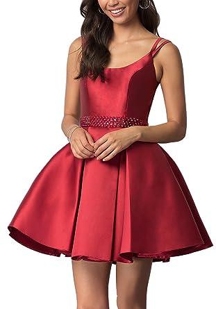 Amazon.com: Beaded Homecoming Dresses with Pockets Backless Satin ...