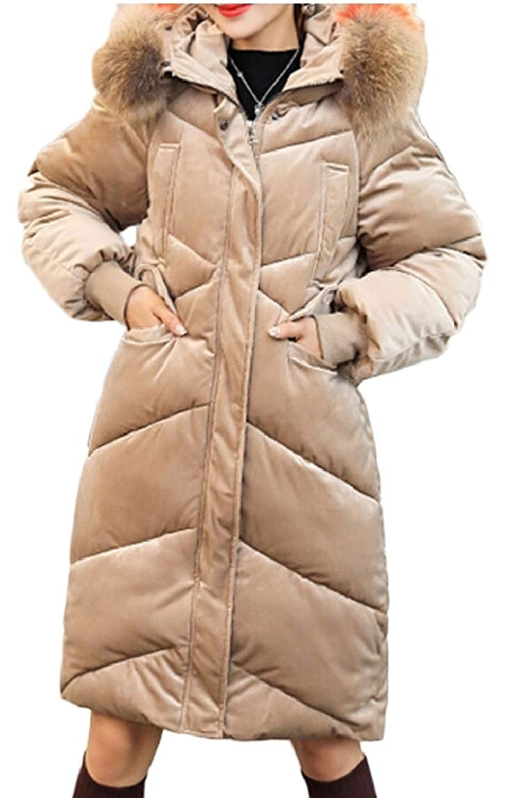1 Women's Faxu Fur Hood Thickened Parka Coats Outwear Down Jackets