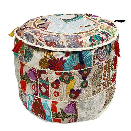 Beautiful Christmas Decorative Vintage Patchwork Bohemian Indian Pouf Large Round Ottoman Seat Pouff Vintage Bohemian Ottoman Pouf Cover by GANESHAM