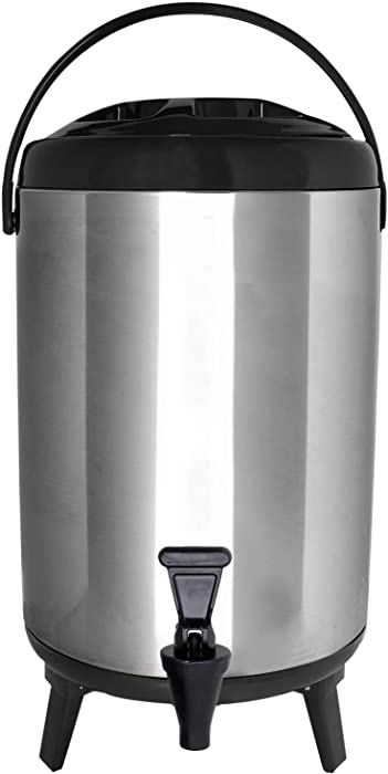 Vollum Stainles Steel Insulated Beverage Dispenser – Insulated Thermal Hot and Cold Beverage Dispenser – 12 Liter Drink Dispenser with Spigot for Hot Tea & Coffee, Cold Milk, Water, Juice & More BLACK
