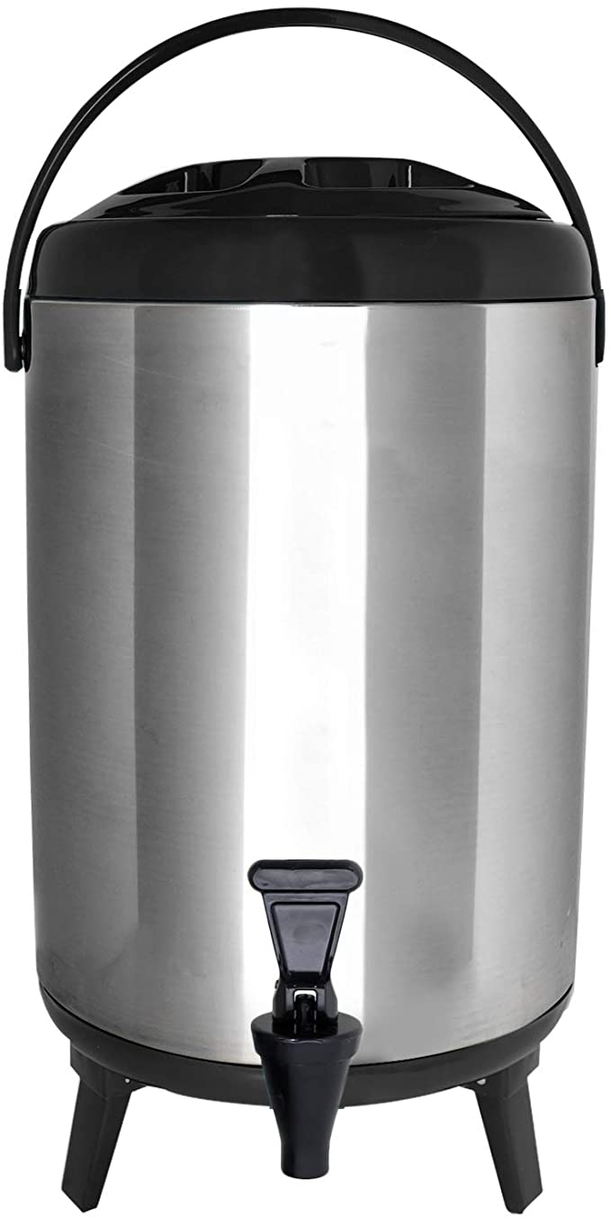 Vollum Stainles Steel Insulated Beverage Dispenser Insulated Thermal Hot And Cold Beverage Dispenser 8 Liter Drink Dispenser With Spigot For Hot Tea Coffee Cold Milk Water Juice More Black Iced Beverage Dispensers