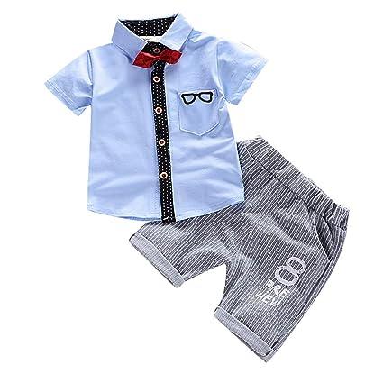 f29b0b576ade9 ❤️ Mealeaf ❤️ Toddler Kids Boys Short Sleeve Bowtie Sunglass Print T-Shirt  Tops+Pants Outfits(Light Blue,100)