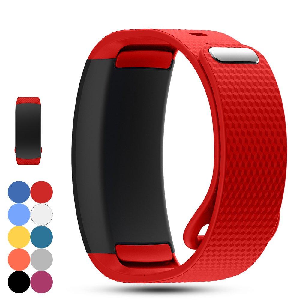 Feskio 交換用時計バンドストラップ Samsung Gear Fit 2 Pro/Fit 2 SM-R360向け ソフトなシリコン製腕時計ストラップ Samsung Gear Fit 2 Pro / SM-R360スマートウォッチ用のスポーツバンドブレスレット B075QDRFCN レッド Large