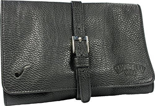 Savinelli Black Rollbag Cowhide Leather 4 Pipe Bag Pouch (black) by Savinelli