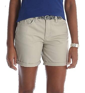 "4fee53556c LEE Riders Womens 6"" Belted Cuff Shorts - Midrise (Cashmere Khaki, 8  Medium"