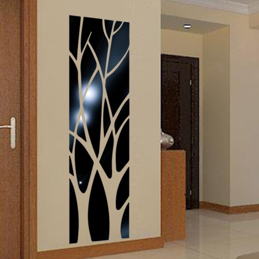 ❤️Pegatinas de pared❤️Dragon868 Bricolaje moderna forma de árbol espejo estilo extraíbles pegatinas de pared (Negro)