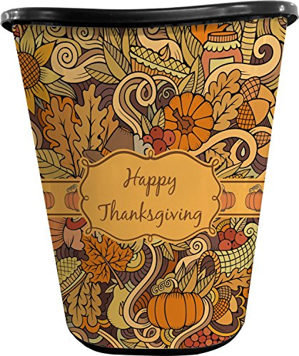 Thanksgiving Waste Basket (Black) (Personalized) (Trash Bathroom Can Owl)