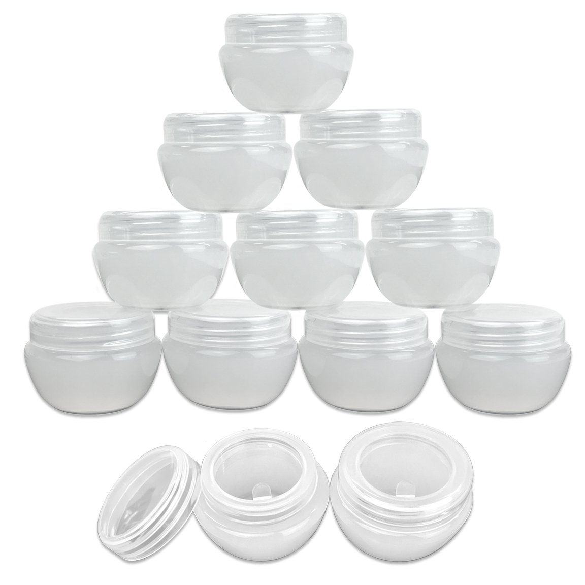 Beauticom White Frosted 10g or 10ml Durable Cosmetic Sample Empty Refillable Container, Plastic Makeup Cosmetic Cream Jar Pot Bottle Container 60 Pieces