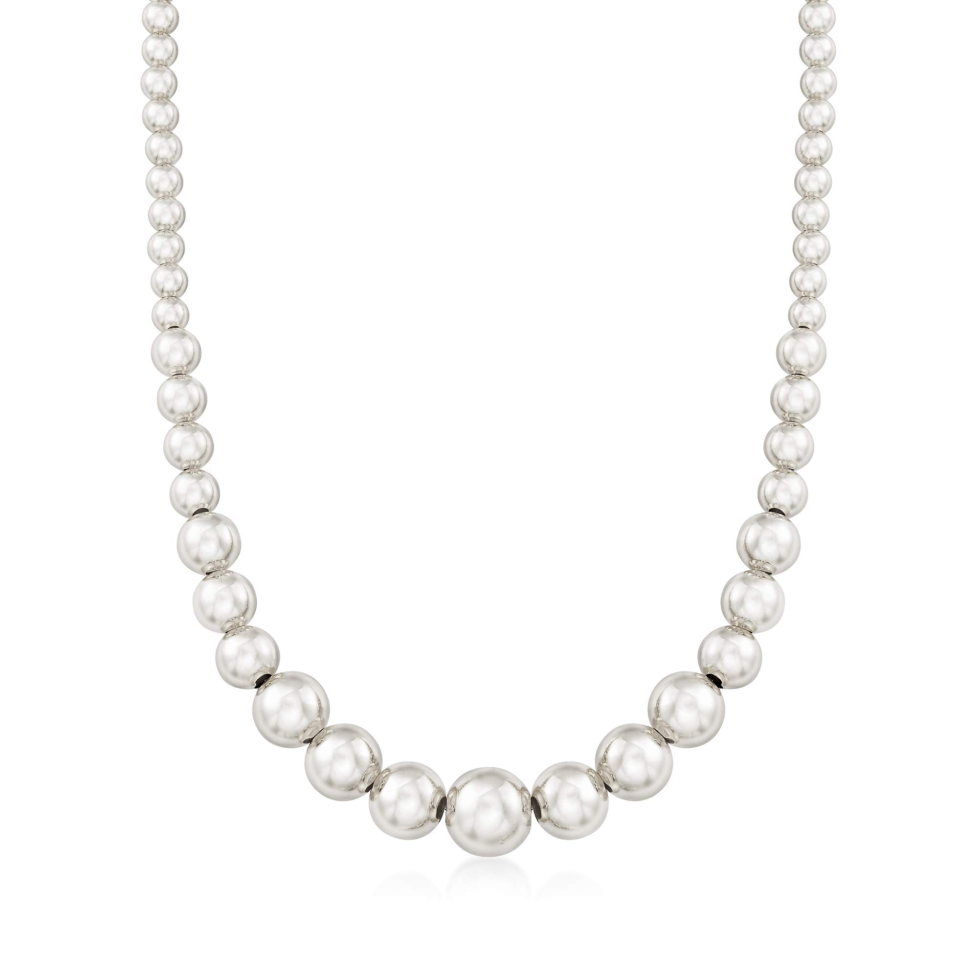 Ross-Simons Italian 6-14mm Sterling Silver Graduated Bead Necklace by Ross-Simons