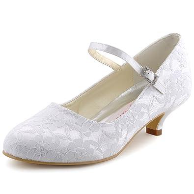 ElegantPark 100120 Ivory Women s Round Toe Cone Heel Satin Lace Buckle Wedding  Bridal Shoes ... a5c8666d3bfb