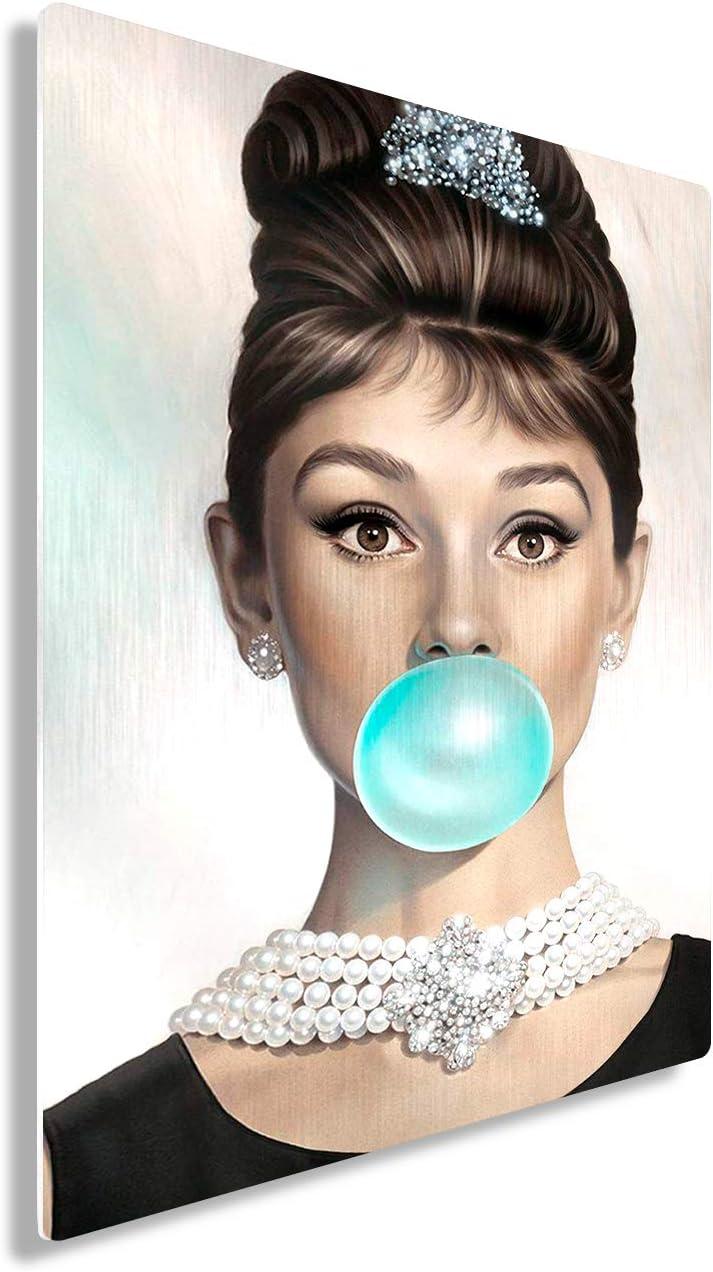 Funny Ugly Christmas Sweater Audrey Hepburn Metal Print Wall Art Blue Bubble Gum Home Decor 16