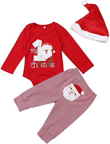 Merry Christmas Mütze Baby-Body Jungen und Mädchen Weihnachten Winter