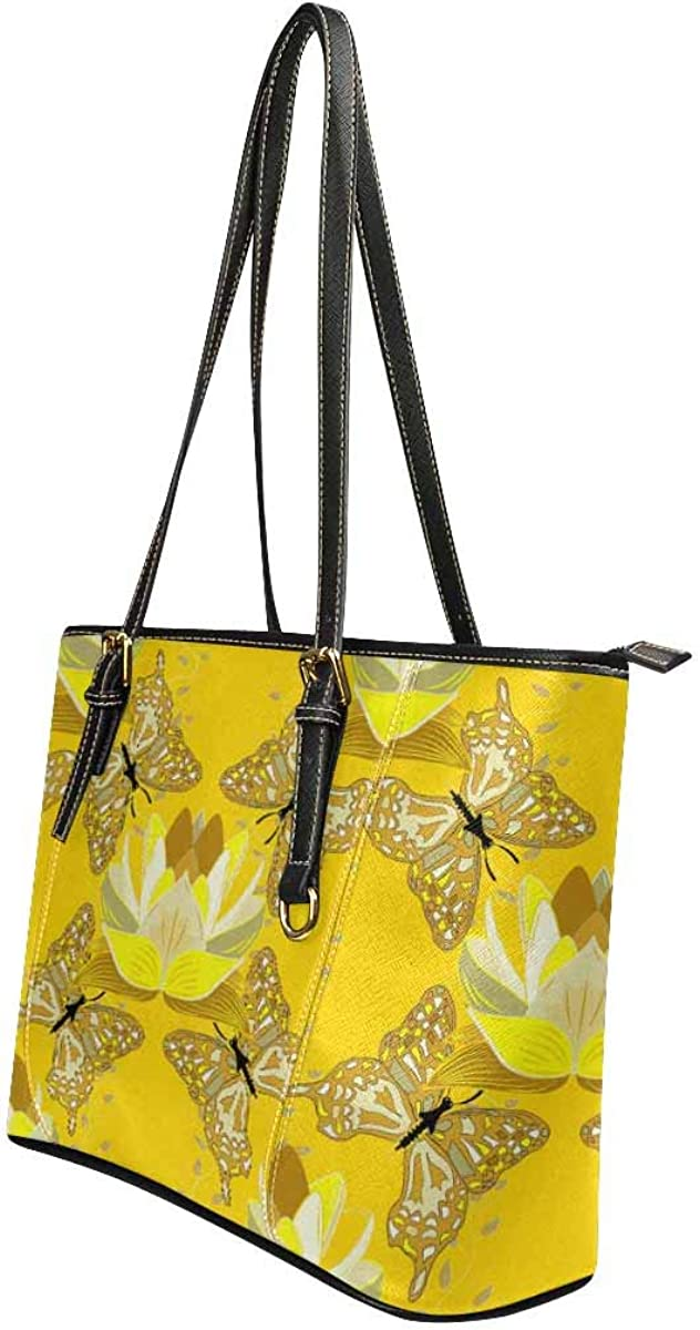 InterestPrint Casual PU Leather Tote Shoulder Handbag for Women