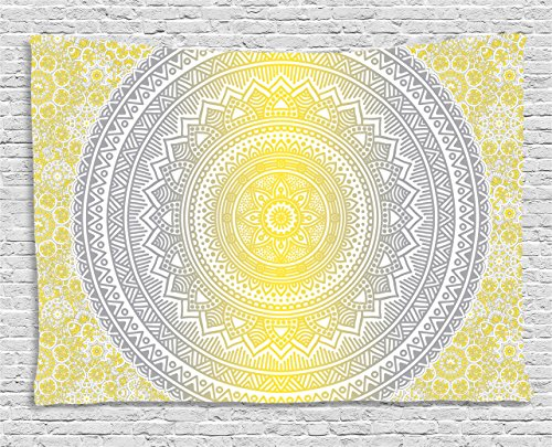 Grey and Yellow Tapestry by Ambesonne, Soft Pastel Color Ombre Ethnic Tribal Mandala Circular Art Medallion Print, Wall Hanging for Bedroom Living Room Dorm, 80 W X 60 L Inches, Grey Yellow