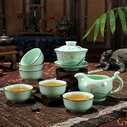 XDOBO High End Celadon Tea Set Hand-painted Kung Fu Tea Set Chinese Traditional Celadon Kiln Ceramics Teapot Vintage China Style Porcelain Handmade Kung Fu Tea Set – Set of 8 (Lotus)