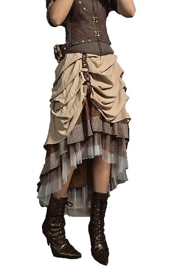 Gothic Fashion Retro Ladies Satén plisado falda Steampunk ...