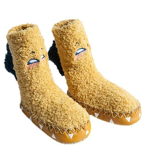 Bebé niños niñas mocasines zapatos de interior calcetines zapatillas de plumas antideslizantes calcetines de niño de 0-1-2-3 años de edad los calcetines del ...