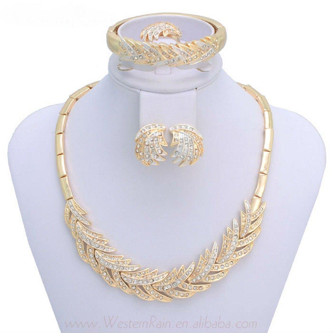 18k Gold Plated Wedding Jewelry Necklace Set Luxury Women Party Set Rhinestone Bridal Fashion Jewelry