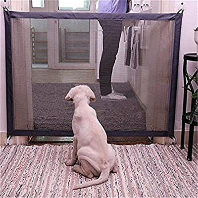 Retractable Pet Gate,Magic Gate Portable Folding Safe Guard Install Anywhere for Pet Safe,Pet Isolation Fence Net