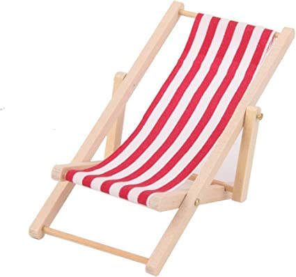 1:6 Scale Foldable Wooden Deckchair Lounge Beach Chair For Lovely MiniatureTS