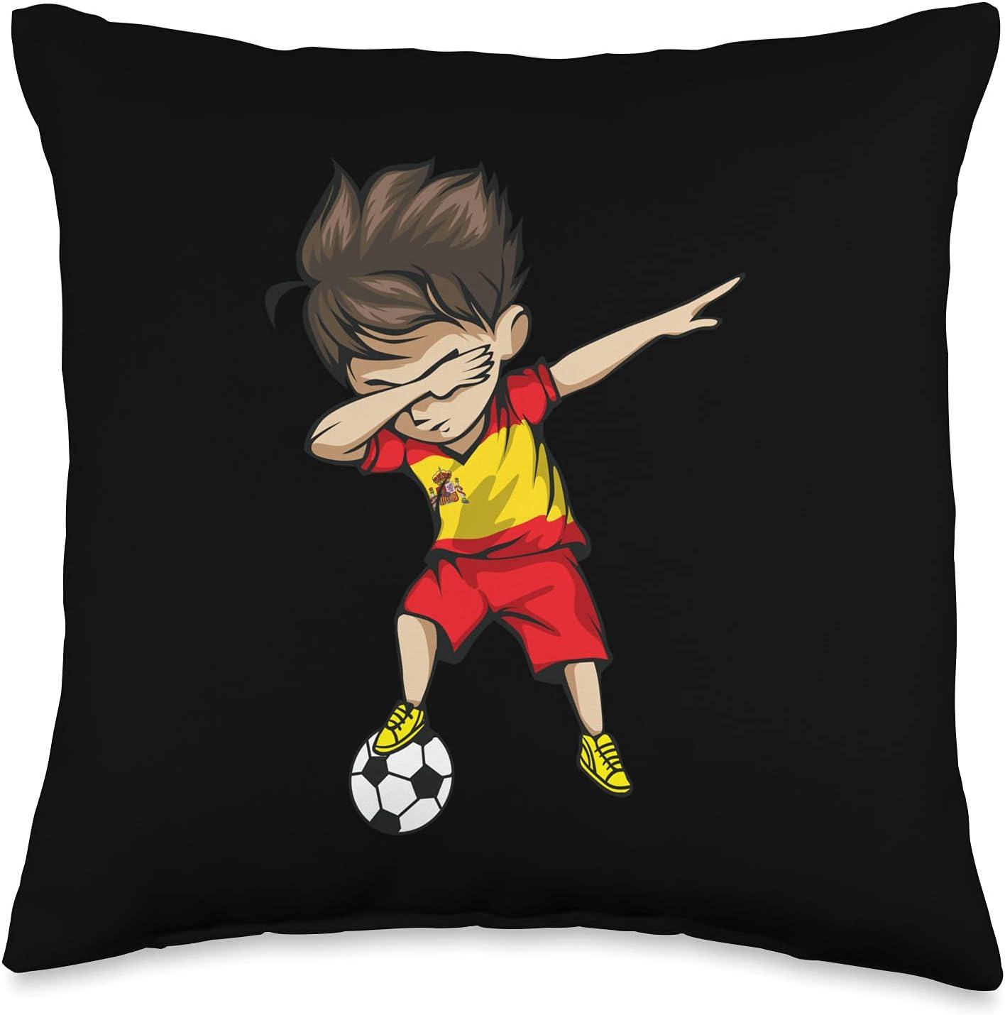 National Team Flag Dab Dance Soccer Boys Designs Dabbing Soccer Boy Spain Jersey-Spanish Football Throw Pillow, 16x16, Multicolor