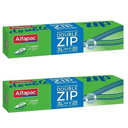 Alfapac - Lote de 20 bolsas de congelación con doble ...
