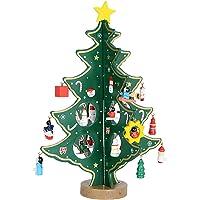 SERWOO (H:28cm Sapin de Noël Bois Artificiel Vert Decoration de Table avec Mini Ornements de Noël pour Déco Noël Table Bureau Cadeau