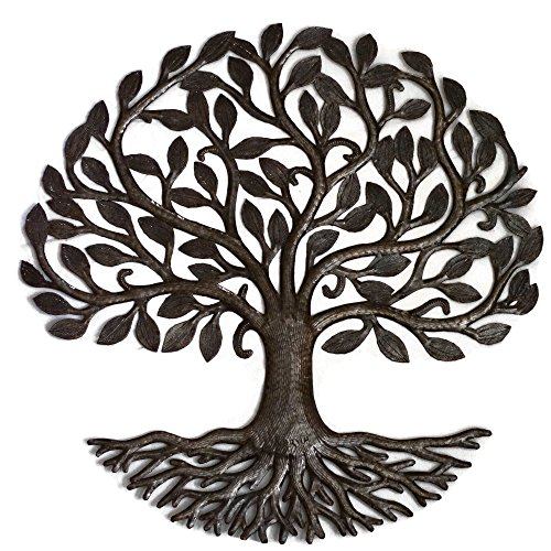 Metal Wall Art, Haiti, Tree of Life, Recycled Steel Garden Art, Fair Trade, 23