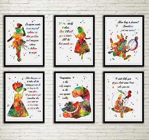 Alice in Wonderland Watercolor Quote Print Set Mad Hatter White Rabbit Queen of Hearts Cheshire Cat Caterpillar Wall Art Tim Burton Home Decor