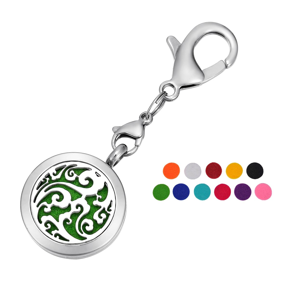 HOUSWEETY Aromatherapy Essential Oil Diffuser Necklace Keychain Key Ring Locket Jewelry with 11 Refill Pads HOUSWEETYB104689+B110351