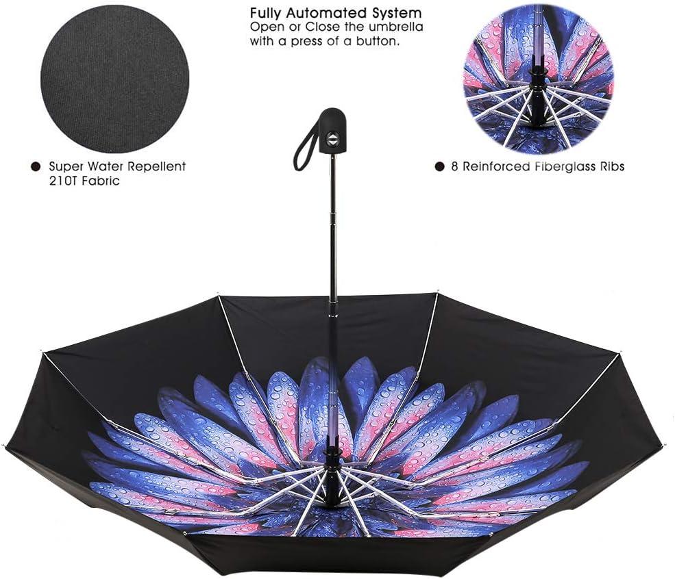 Blue Daisy ZKDT Automatic Windproof Travel Umbrella Compact Flower Pattern Umbrella for Women Girls
