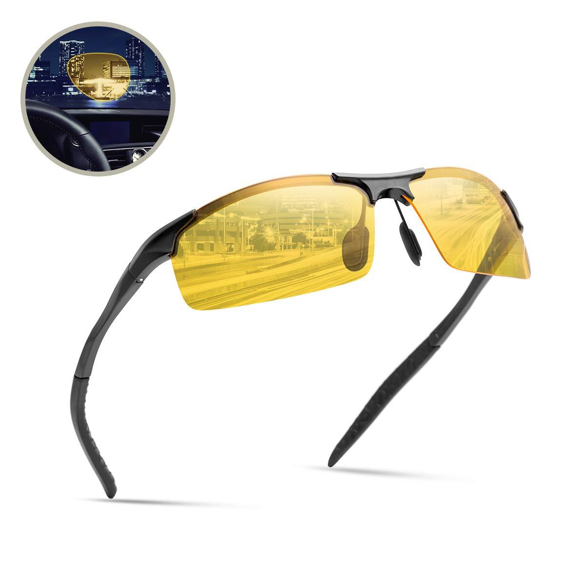 Surenue night driving glasses anti glare sport polarizedYellow Tint Polycarbonate Lens Safety Sunglasses Men Women (Black-YS)