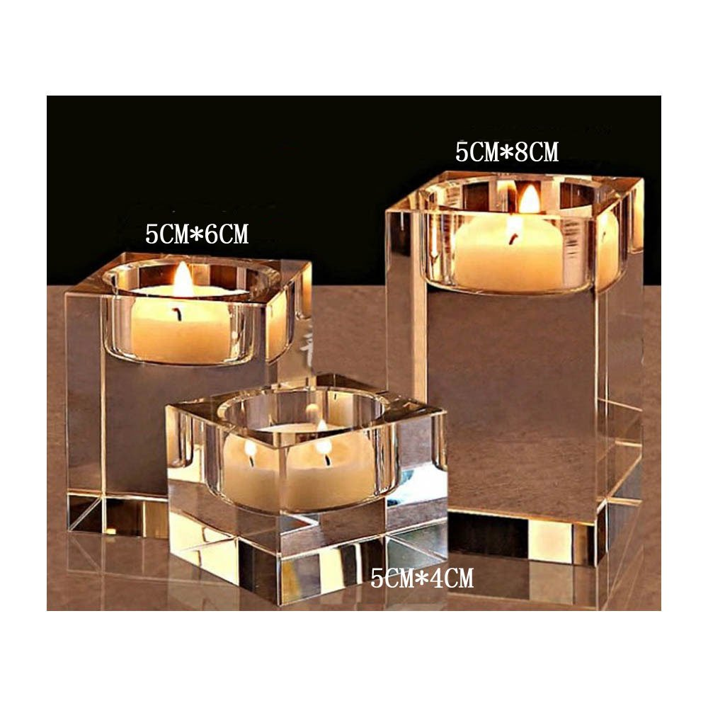 (3.9+12cm) Cosy-Yc Square Crystal Tealight Holders Candle Holder Set K9 Candelabra Candles Stands Best Decor For Wedding Birthday Christmas Bar Party (3.9+12cm) B079CL1F9V 3.9+4.7 inches 3.9+4.7 inches