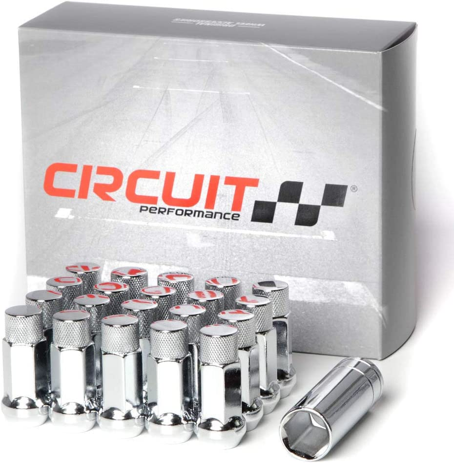 24 Pieces Circuit Performance 12x1.25 Black Closed End Bulge Acorn Lug Nuts Cone Seat Forged Steel