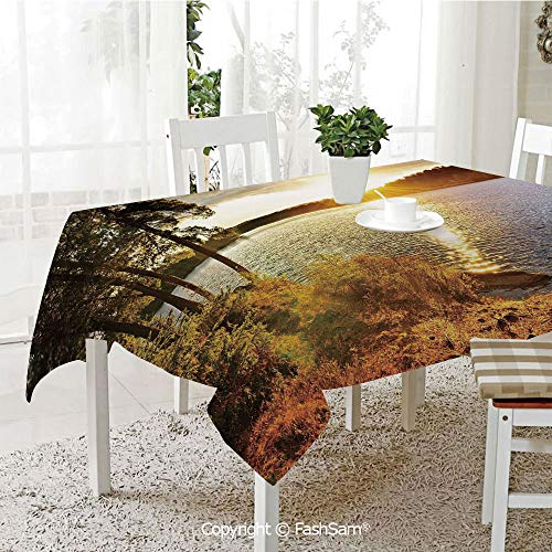 Party Decorations Tablecloth Sunset Dawn in The Forest Over Lake of Two Rivers Algonquin Park Ontario Canada Table Protectors for Family Dinners (W55 xL72) (Best Food South Lake Union)