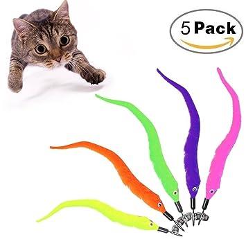 Aurorali Recambio de varita para gato (5 piezas, recambio de plumas, juguete para gatos y gatitos, 5 colores): Amazon.es: Productos para mascotas
