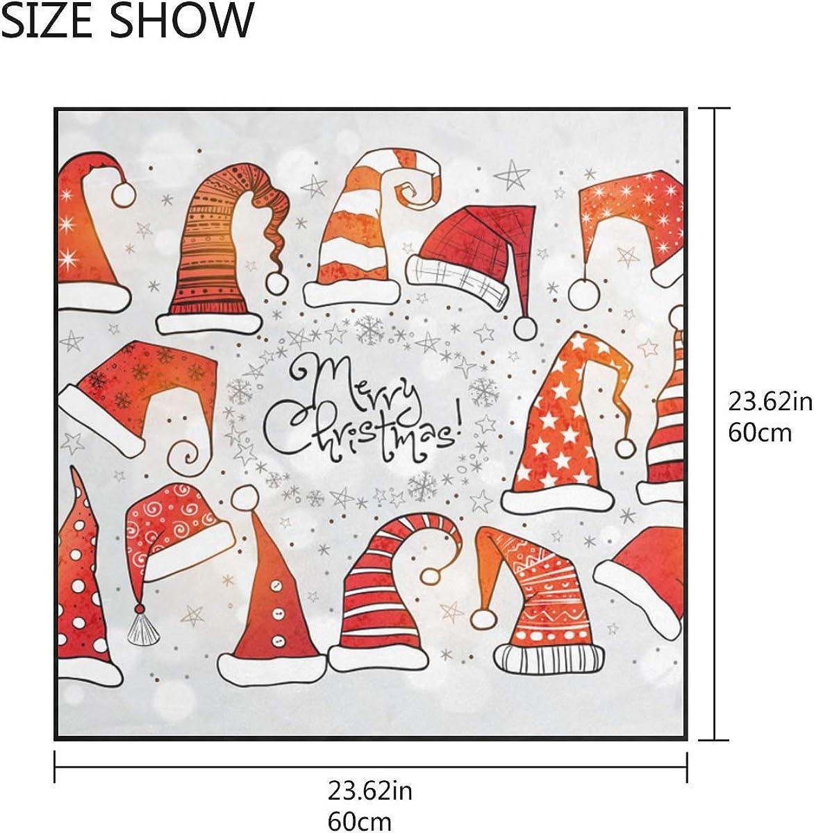 Soft Polyester Silk Scarf Women Hair Fashion Print Red Cute Christmas Santa Hat Decorative Scarf Square Scarf Wrap Scarf Silk Multiple Ways Of Wearing Daily Decor