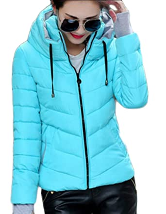 3e10a1c87aa9 Amazon.com  Frieed Women s Winter Warm Funnel Neck Zip-Up Thicken Quilted  Down Jackets Coat  Clothing