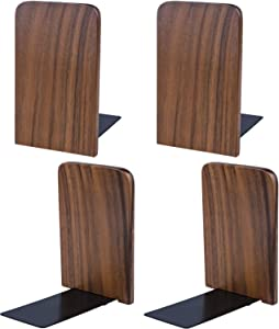 Nicunom Pack of 2 Pair Wood Bookends, Non Skid Black Walnut Book Stand for Home Office School, L-Shaped Book Ends Perfect for Books, DVD's, CD's, Video Games