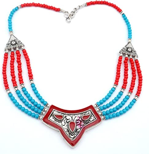 Handmade Jewelry Turquoise Sterling Silver Overlay Necklace 17-18 Nepali Work Red Coral