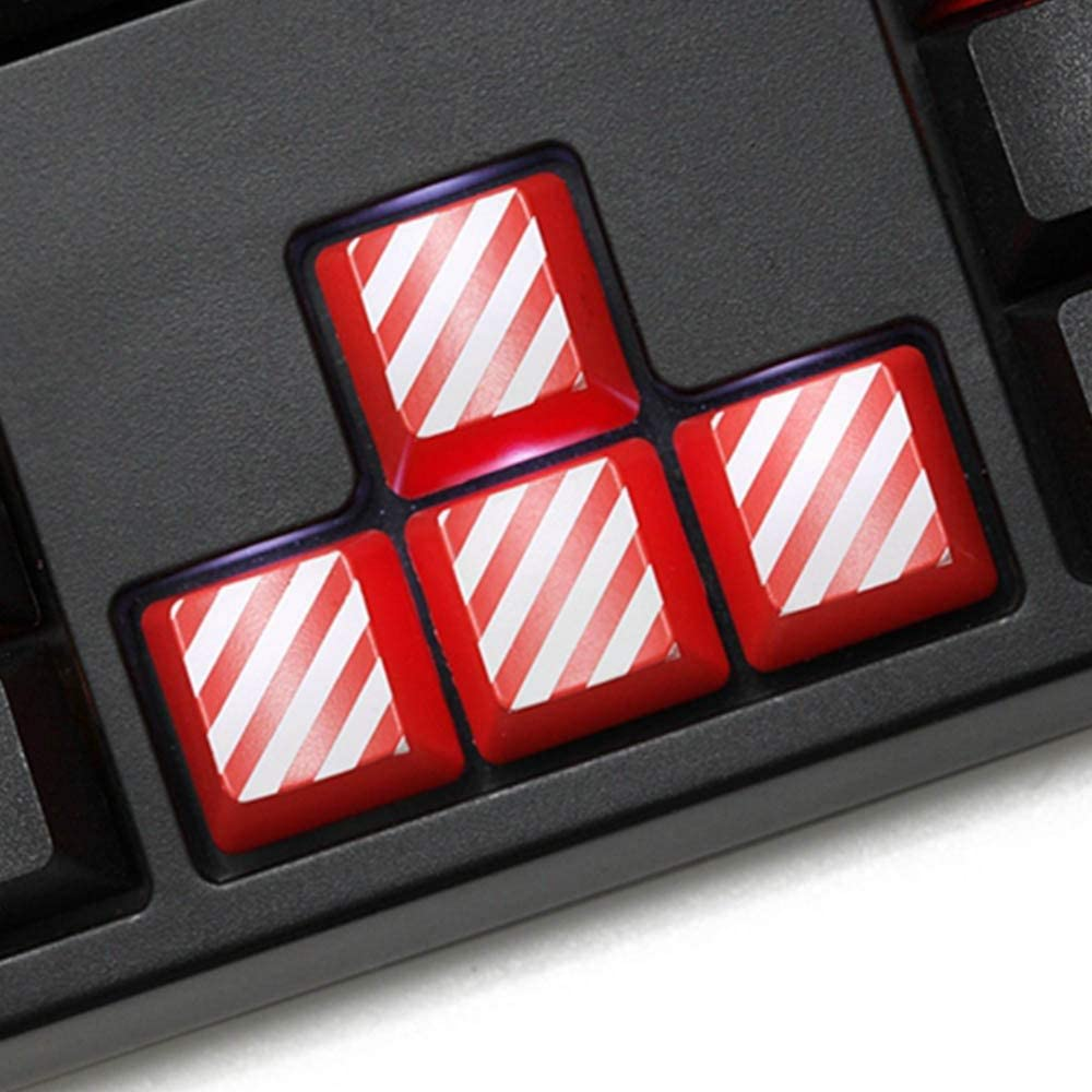 Keyboard keycaps 4pcs RED Black White Stripe Keycaps for Switch Mechanical Keyboard WASD ESC Arrow Cap for Keyboard Color : 4pcs keycaps7